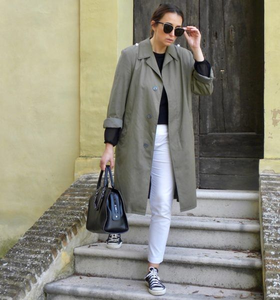 How to create an outfit with a military green trench coat