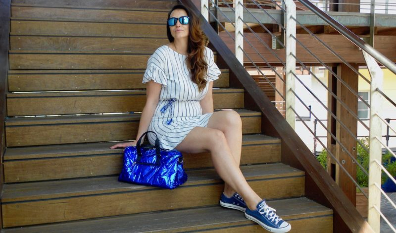Striped summer dress: a casual outfit for July